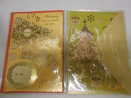 Hallmark Signature Collection lot 2 gold glitter Christmas cards w/ enve... - $8.42