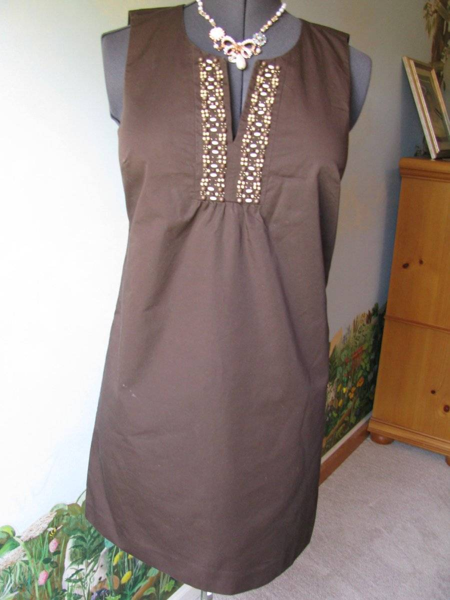 Primary image for Ann Taylor Loft Sleeveless Beaded Neckline Cotton Brown Dress Size 6