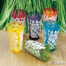 Hibiscus Print Plastic Cups (1 dozen) - Bulk [Toy]  - $12.49