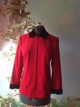 Talbots Petites Red Trimmed with Black Velvet Wool Suit Jacket Blazer Size 8P - $38.61