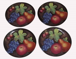4 FURIO EDEN Still Life Fruit Grapes Pears Apples Plums Oval Dinner Plates - $38.99