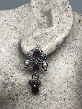Vintage Genuine Ruby White Sapphire 925 Sterling Silver Earrings - $130.68