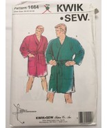 Kwik Sew Pattern 1664 Mens Bathrobes King Size Robes Chest Size 50-56 IN... - $11.99