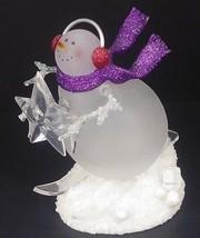 "Acrylic Snowman Figurine Sledding Down A Hill - Pulsing Light - 6 1/2"" Tall - $28.04"