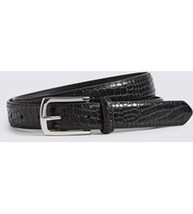 Nwt Giorgio Armani Collezioni Belt Croc Black Leather one-size $275 Men's - $193.99