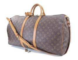 Authentic LOUIS VUITTON Keepall Bandouliere 55 Monogram Canvas Duffel Ba... - £517.27 GBP