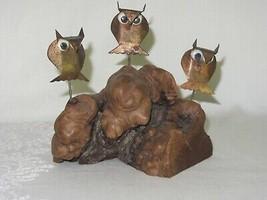 Burled Burl Wood Base Figurine w 3 Patina Copper Owls Googly Eyes - $29.69