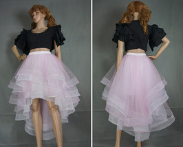 White High Low Layered Tulle Skirt High Waist Long Tiered Tulle Skirt Outfit D87 image 7