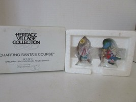 DEPT 56 56364 CHARTING SANTAS COURSE SET OF 2 FIGURES HERITAGE VILLACE N... - $14.65