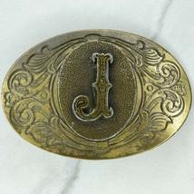 Vintage Bronze Tone J Initial Monogram Belt Buckle - $19.34