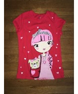 ! childrens place red girl glitter graphic tee shirt size medium 7 - 8 - $5.15