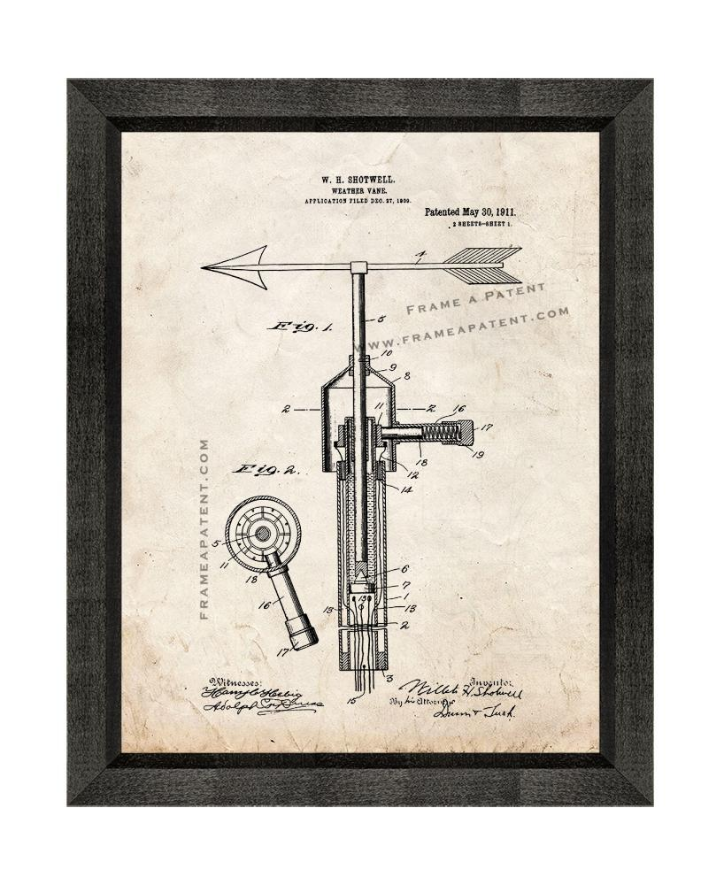 Primary image for Weathervane Patent Print Old Look with Beveled Wood Frame