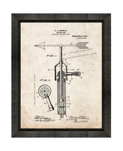 Weathervane Patent Print Old Look with Beveled Wood Frame - $24.95+