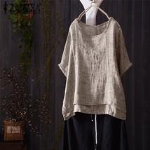 Plus Size 2018 ZANZEA Women Summer O Neck Short Batwing Sleeve Cotton Linen Blou - $40.80