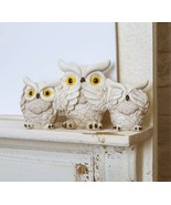 Cream Colored See Hear Speak No Evil Wise Fat Owls Figurine Owl Family D... - $19.99