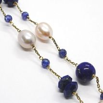 SILVER 925 NECKLACE, YELLOW, LAPIS LAZULI BLUE DISCO AND SPHERES, PEARLS, 45 CM image 4
