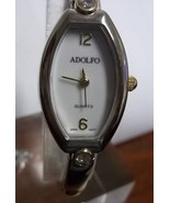 Woman's Adolfo Watch, White Face, Japan Movt, Gold/Silver Tone Band, Run... - $15.49