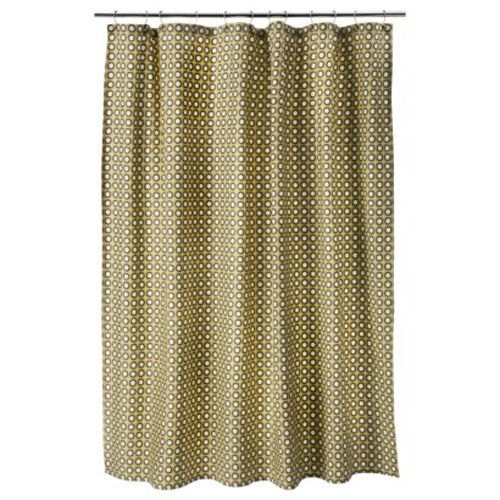 """NEW Threshold Yellow Circle Shower Curtain 72x72"""" 100% Cotton Buttonhole Top"""