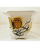 Six Sided Owl Planter Pot Vase White - $9.89