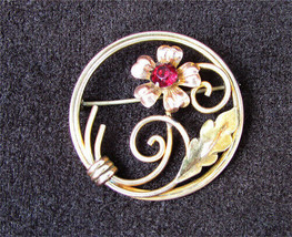 Van Dell circle pin 1/20 KT GF red stone swirl leaves - $12.00