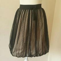 Tvisha bubble skirt black lace & peach lining, size 170 (US kids 14), EUC - $47.04