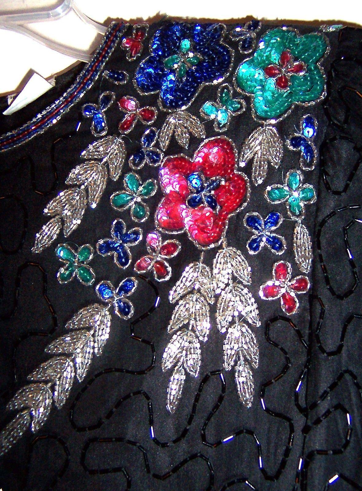 Sz M ~ Laurence Kazar Black Beaded Top w/Colorful Beaded Floral Shoulders