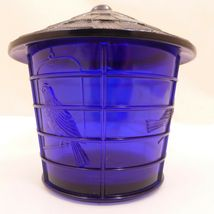 NOS Vintage IMPERIAL COBALT BLUE Glass BIRD CAGE Covered JAR Canister SUMMIT image 4