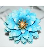 VTG CROWN TRIFARI Gold Tone Blue Celluloid Flower Brooch Pin (B) - $99.00