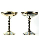 Bridalane Champagne Wine Goblets Set of Two Silver Plated - $29.69