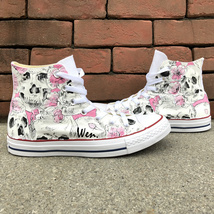 Converse Hand Painted Shoes Design Peach Blossoms Flower Skull All Star Sneakers - $155.00