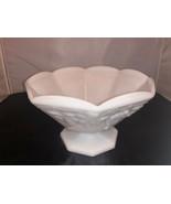 Milk Glass Bowl On Pedestal Grape Motif White - $31.93