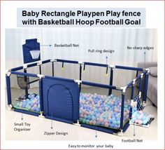 Baby Children Safety Barrier Blue Rectangle Playpen Play fence Gift - $125.00