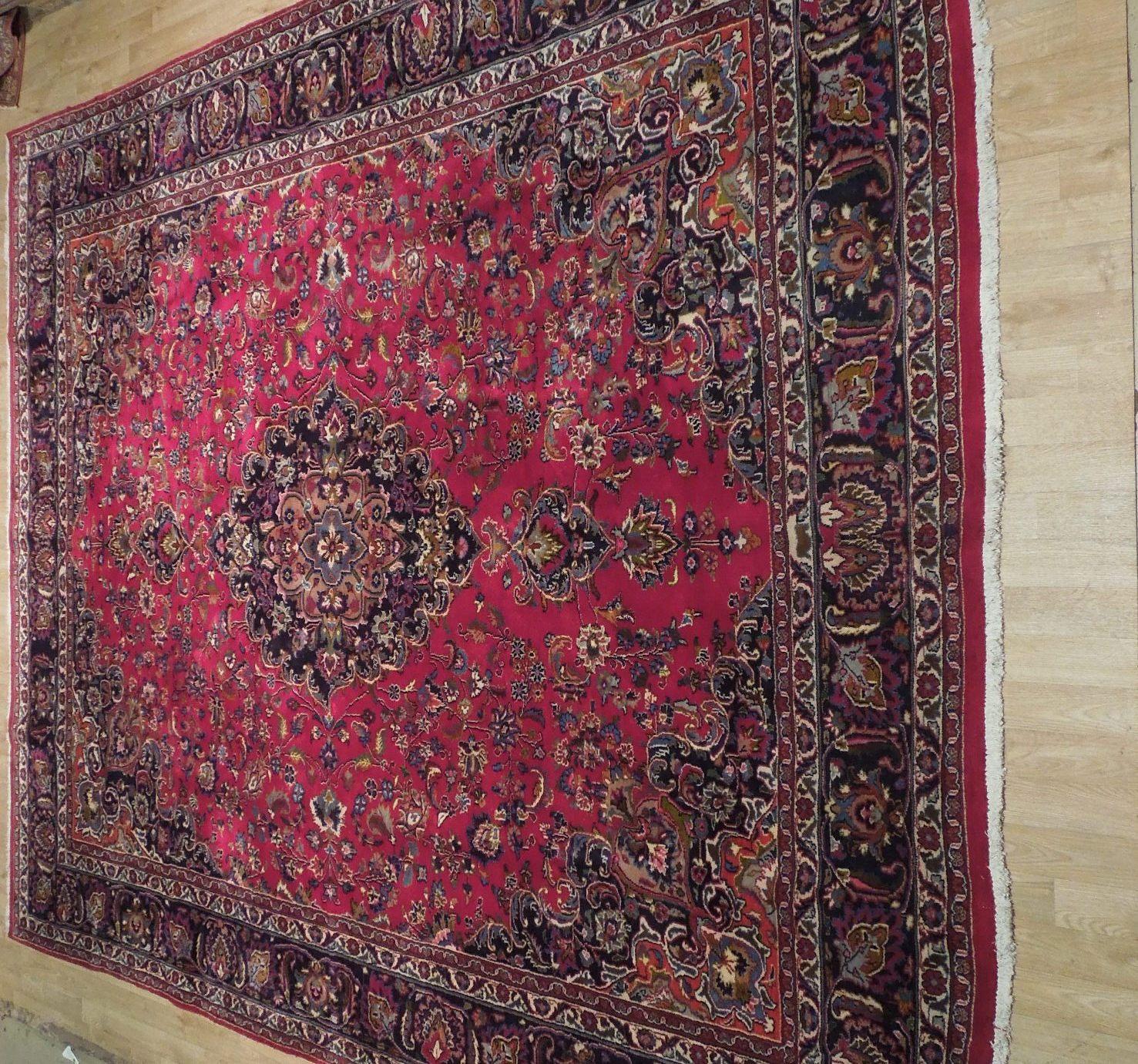 Red Wool Rug 10' x 12' Scarlet Vivid Original Traditional Persian Handmade Rug image 10