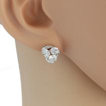 UE-Elegant Silver Tone Designer Love Knot Earrings With Swarovski Style Crystals - $15.99