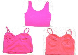 Sz M/L - Cristina Fuschia Pink Ribbed Crop Top - $15.19+