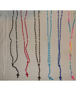 Many Colors Fashion Knot Threaded Rosary Rosario Necklaces W/Cross Handm... - $9.00
