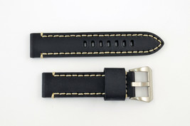 24mm black genuine leather watch band heavy duty strap fit Luminox white... - $34.07