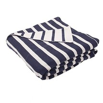 Diva At Home Navy Blue and Natural White Stripe Patterned Throw Blanket ... - €69,84 EUR