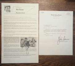 Jim Sasser Autograph - Signed & Inscribed Campaign Flyer & Senate Letter... - $35.00