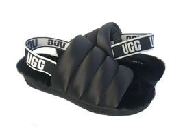 UGG PUFF YEAH BLACK MOCASSIN SLIP ON SHEARLING LINED SANDAL US 6 / EU 37... - $92.57