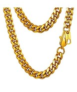 PROSTEEL Miami Cuban Gold Mens Chain 18K Yellow Gold Plated Thick Curb C... - $20.02