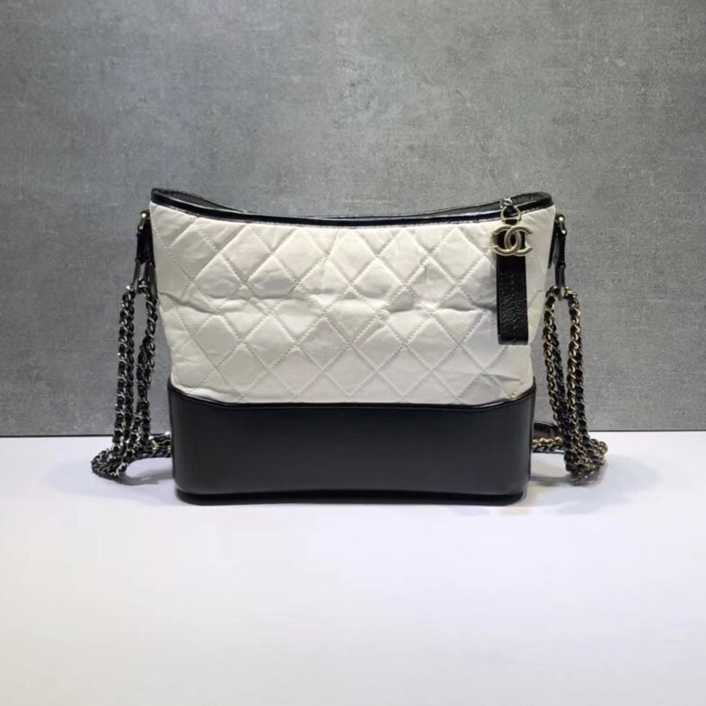 d38e9500052a NEW AUTHENTIC CHANEL White Black Quilted Calfskin Medium Gabrielle ...