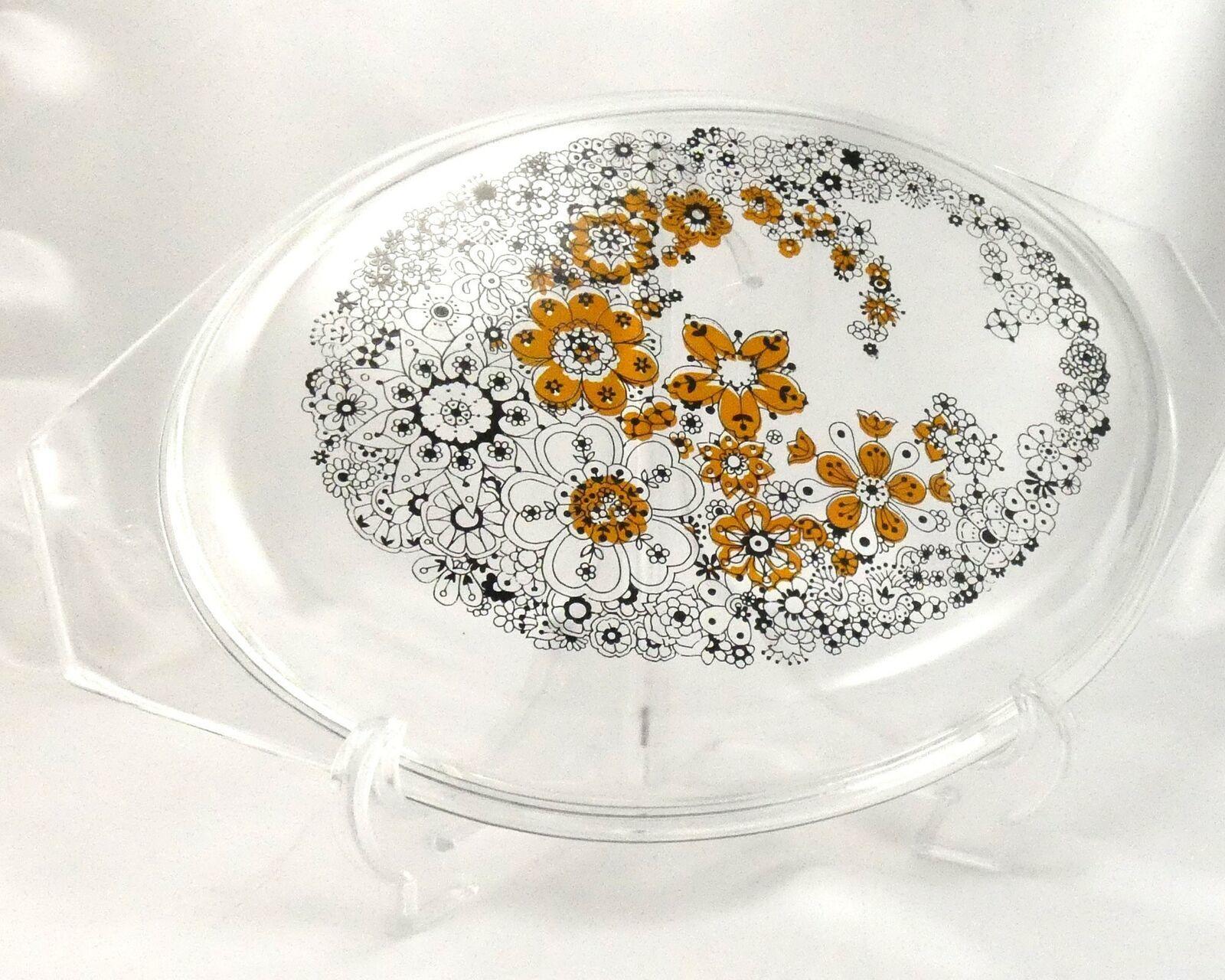 Pyrex Floral Bubbles 945C Lid 3D Effect Vintage 1970 Clear Glass ~ LID ONLY