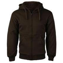 Men's Athletic Soft Sherpa Lined Fleece Zip Up Hoodie Brown Sweater Jacket