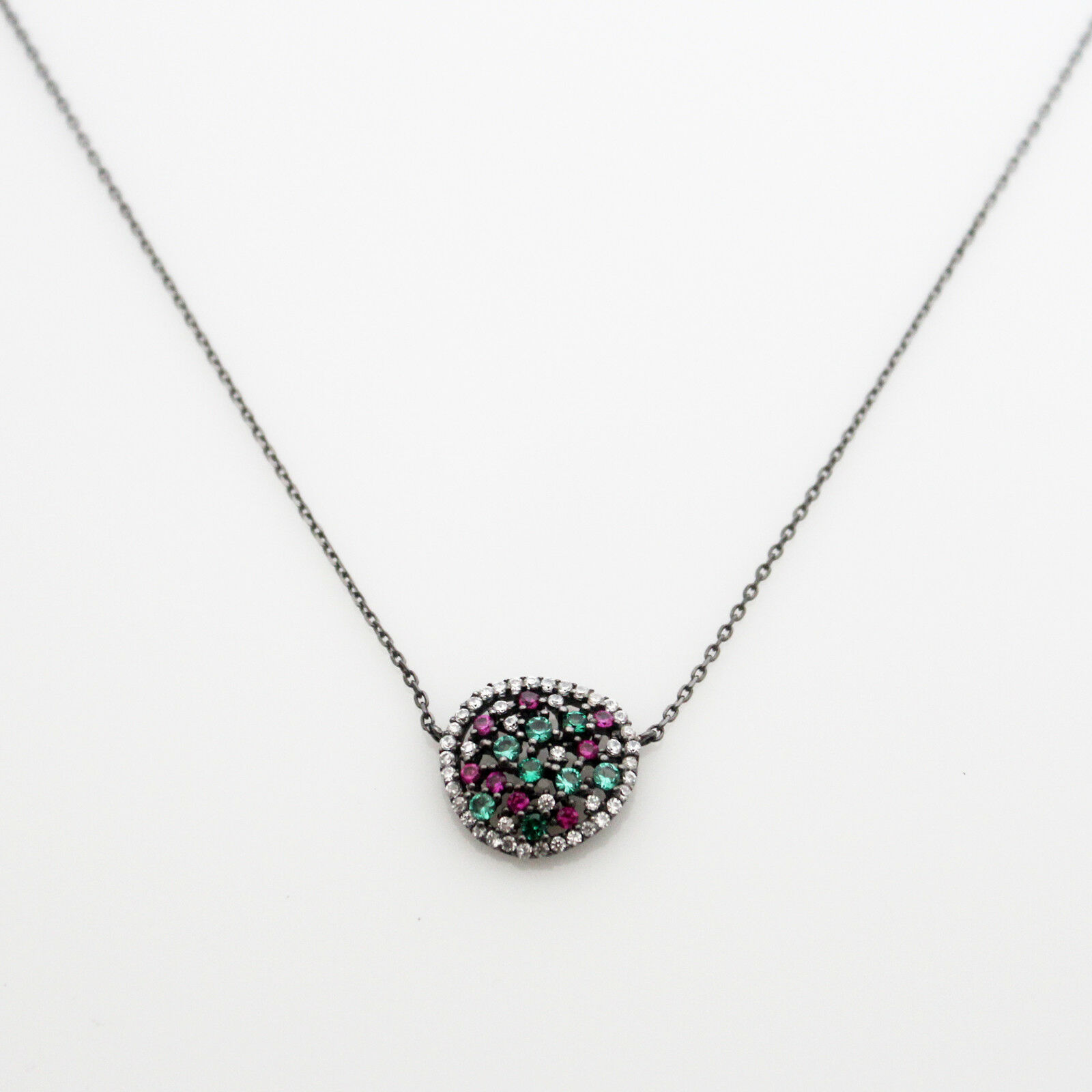 Round Circle Necklace Sterling Silver 925 Black Multi Color Cubic Zirconia