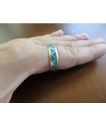 Vintage Turquoise Inlay Band ring Sterling Size 9.75 signed FYL Lucy Yat... - $34.99