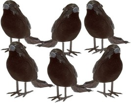 Halloween Black Feathered Small Crows and ndash; 6 Pc Black Birds Raven... - €20,90 EUR