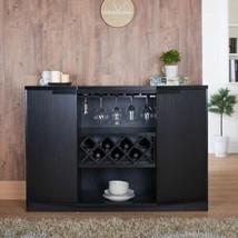 NEW Black Dry Bar Storage Holds 7 Bottles Wine Rack Liquor Cabinet Top B... - $459.26