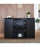 NEW Black Dry Bar Storage Holds 7 Bottles Wine Rack Liquor Cabinet Top B... - $494.90