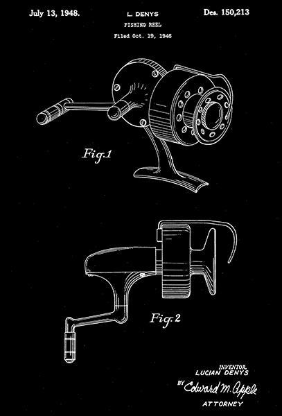 Primary image for 1948 - Fishing Reel - L. Denys - Patent Art Poster